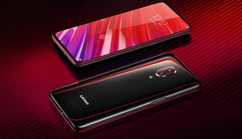 Celular Lenovo con pantalla rojo