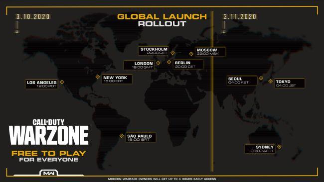 Horario de lanzamiento de War Zone