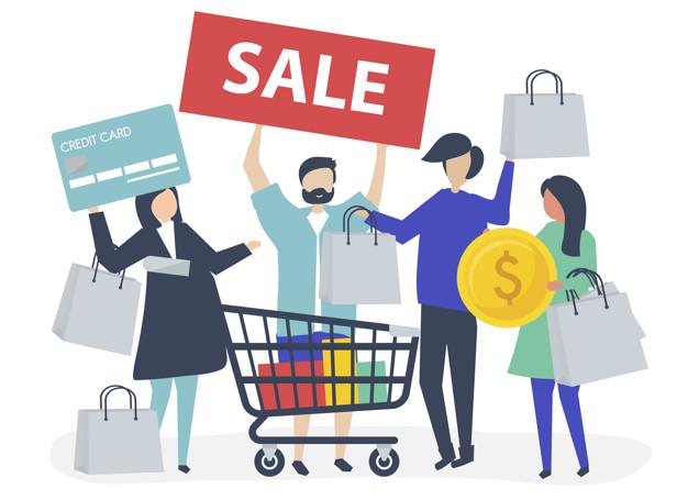 Personas comprando con tarjeta de crédito